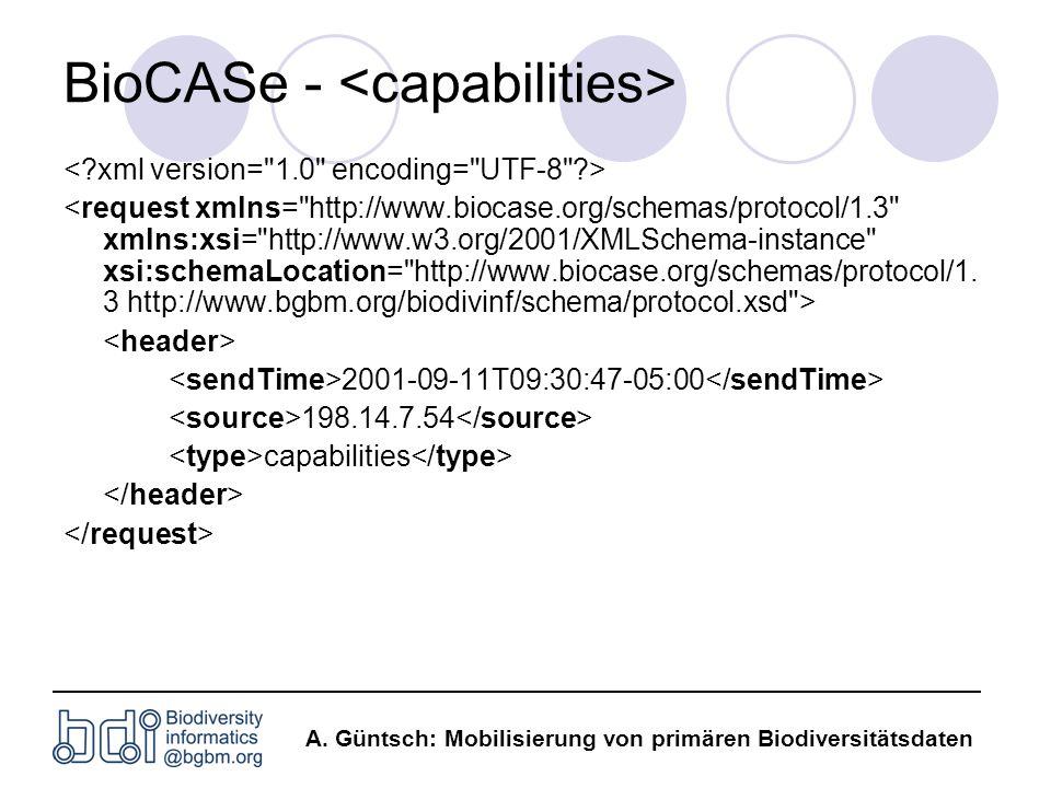 BioCASe - <capabilities>