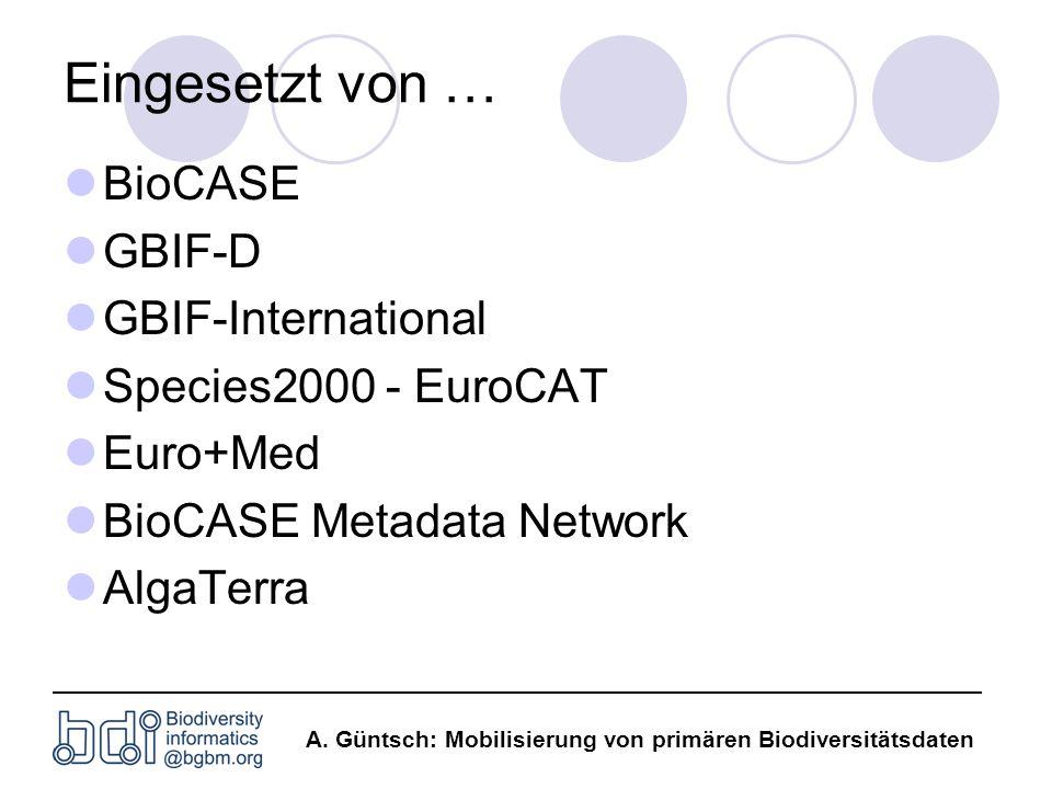 Eingesetzt von … BioCASE GBIF-D GBIF-International