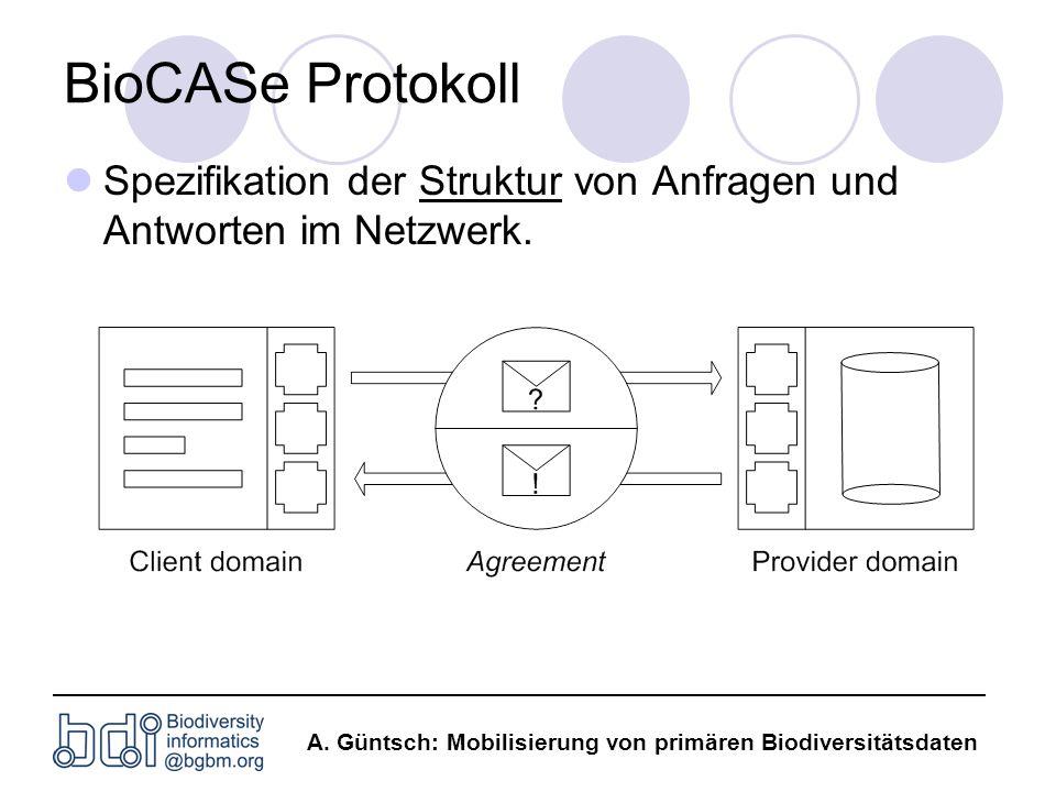 BioCASe Protokoll Spezifikation der Struktur von Anfragen und Antworten im Netzwerk.
