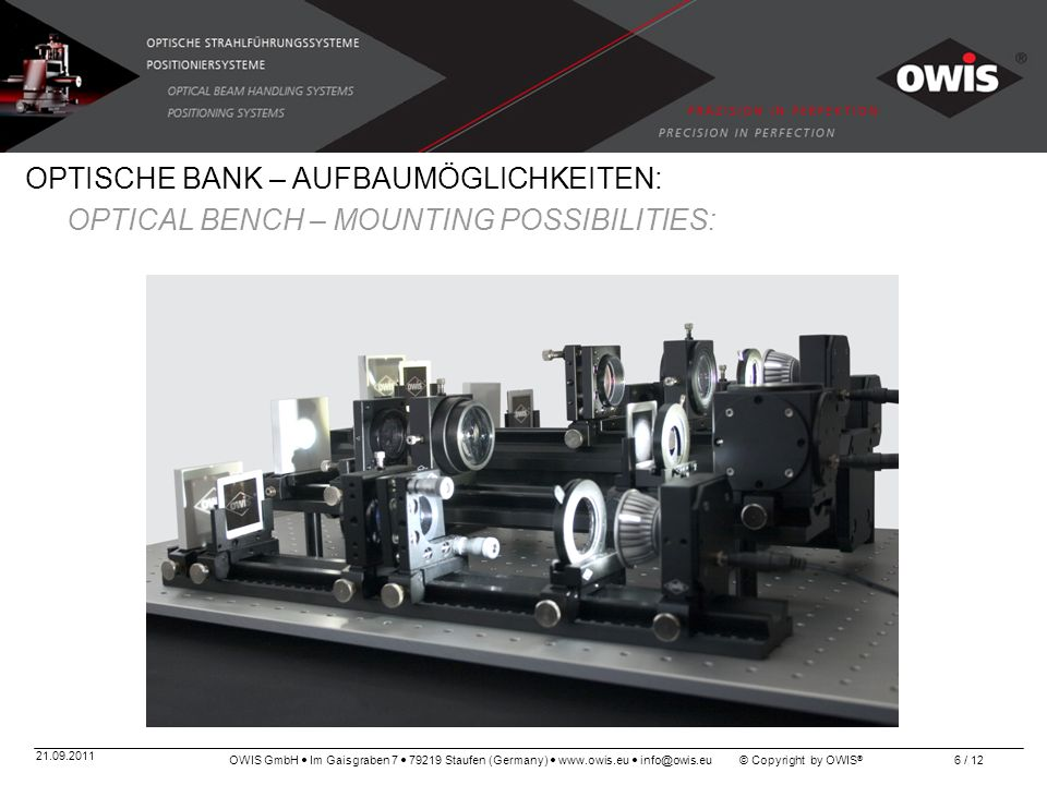 OPTISCHE BANK – AUFBAUMÖGLICHKEITEN: