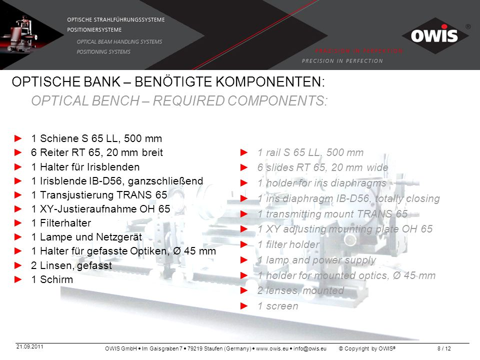 OPTISCHE BANK – BENÖTIGTE KOMPONENTEN: