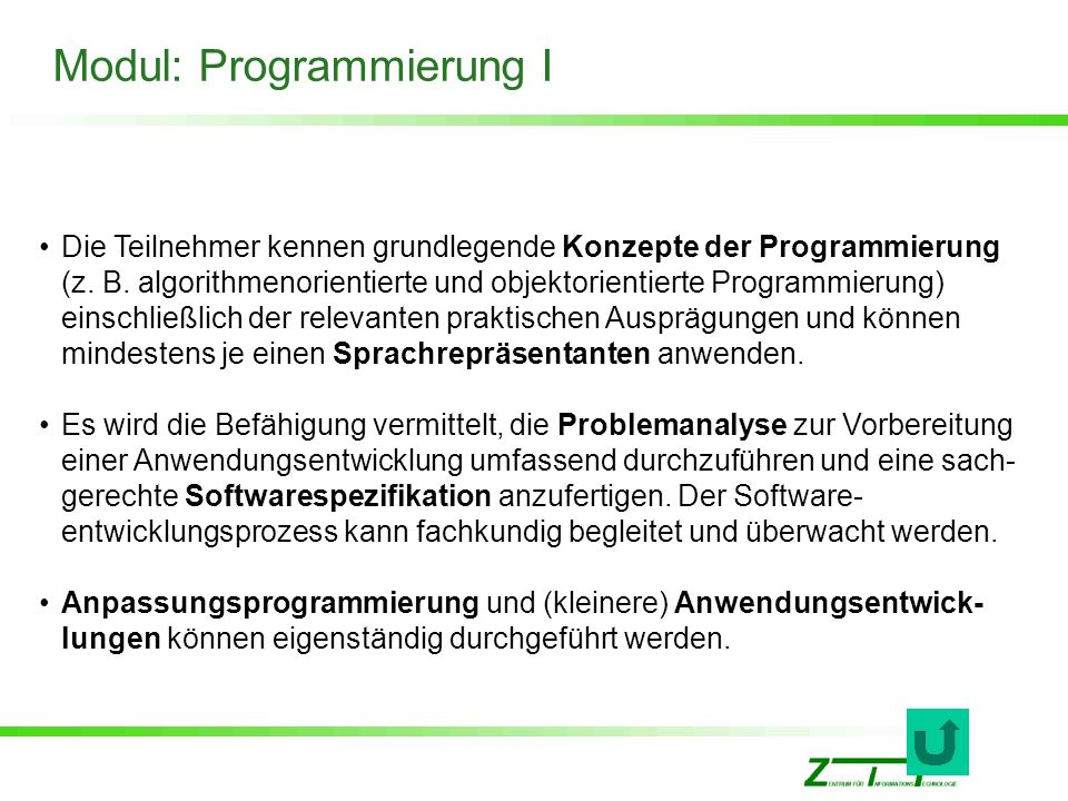 Modul: Programmierung I