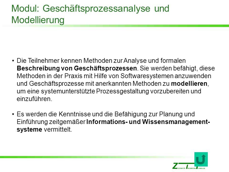 Modul: Geschäftsprozessanalyse und Modellierung