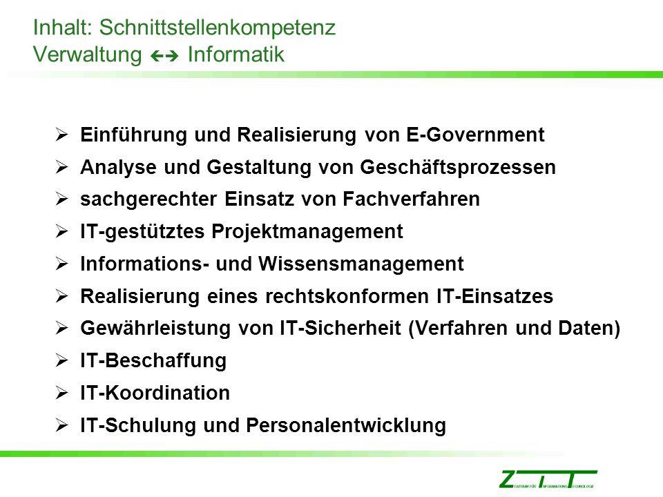 Inhalt: Schnittstellenkompetenz Verwaltung  Informatik