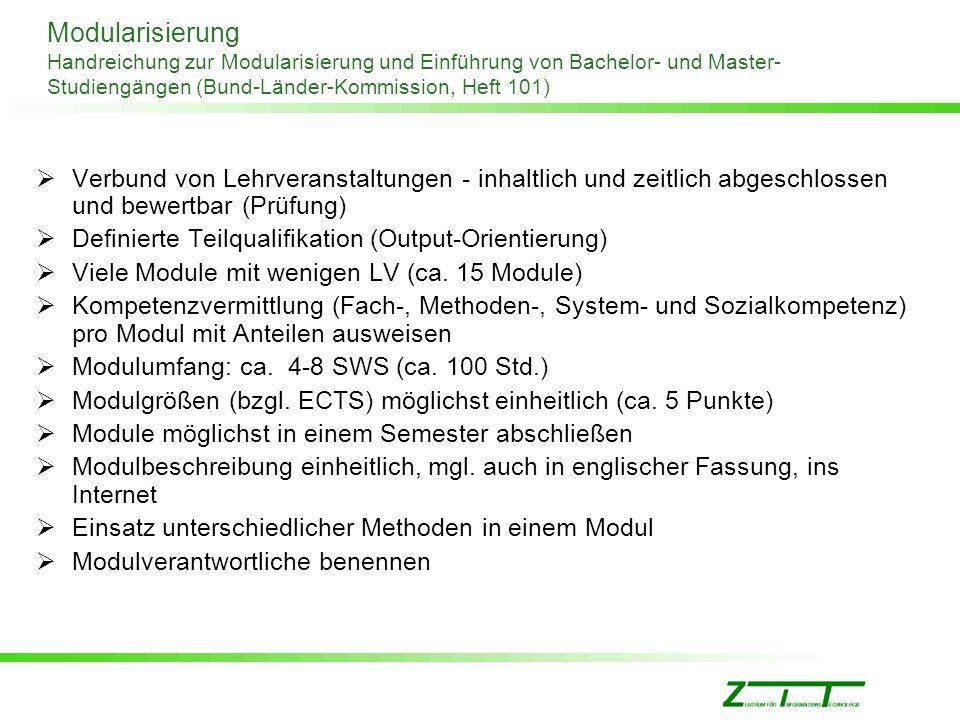Modularisierung Handreichung zur Modularisierung und Einführung von Bachelor- und Master-Studiengängen (Bund-Länder-Kommission, Heft 101)