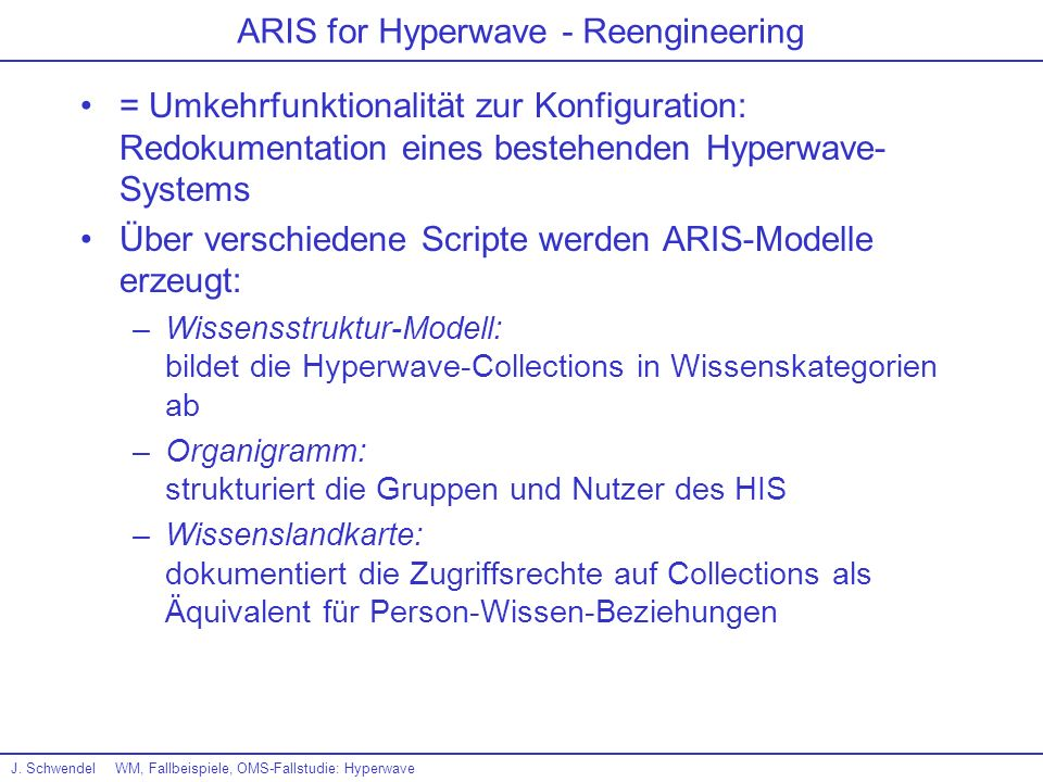 ARIS for Hyperwave - Reengineering
