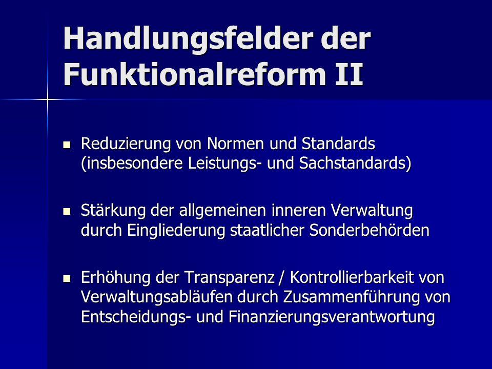 Handlungsfelder der Funktionalreform II