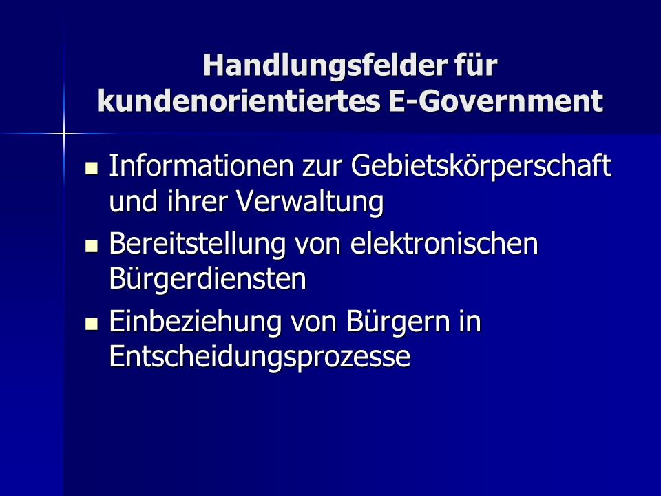 Handlungsfelder für kundenorientiertes E-Government
