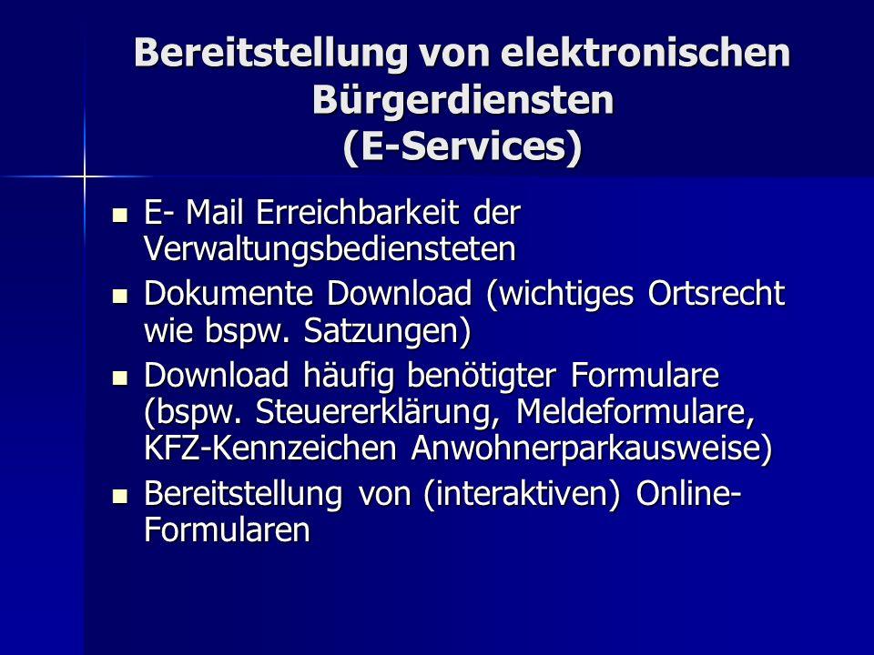 Bereitstellung von elektronischen Bürgerdiensten (E-Services)