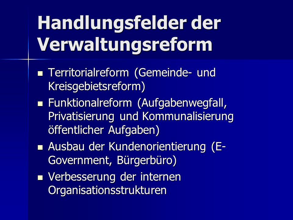 Handlungsfelder der Verwaltungsreform