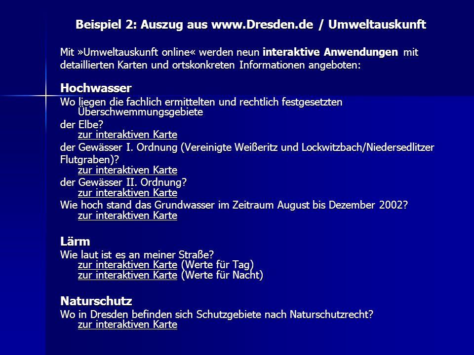 Beispiel 2: Auszug aus www.Dresden.de / Umweltauskunft