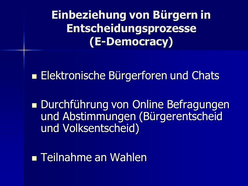 Einbeziehung von Bürgern in Entscheidungsprozesse (E-Democracy)