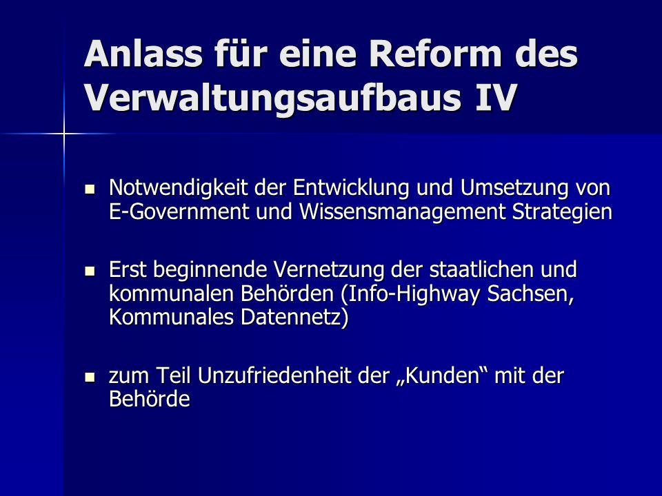 Anlass für eine Reform des Verwaltungsaufbaus IV