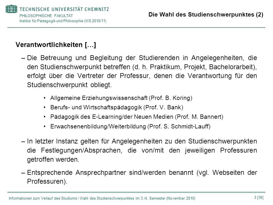 Die Wahl des Studienschwerpunktes (2)