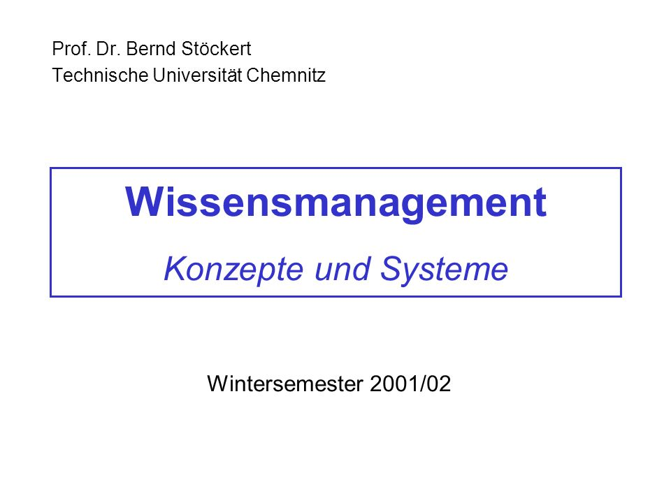 Wissensmanagement Konzepte und Systeme