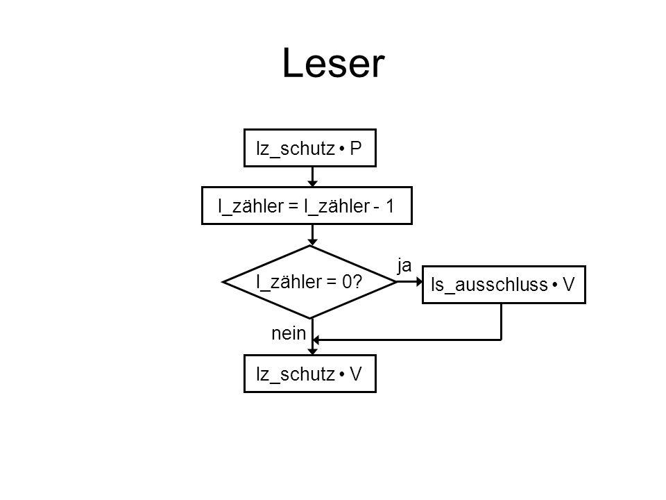 Leser lz_schutz • P l_zähler = l_zähler - 1 ja l_zähler = 0