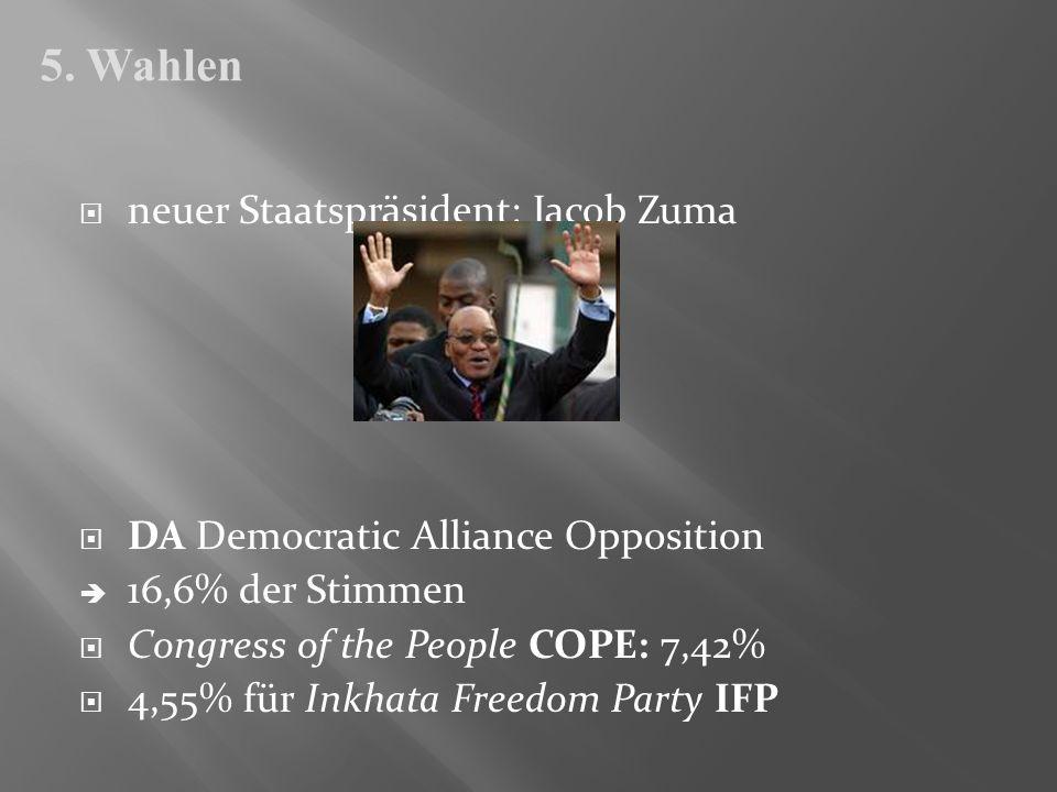 5. Wahlen neuer Staatspräsident: Jacob Zuma