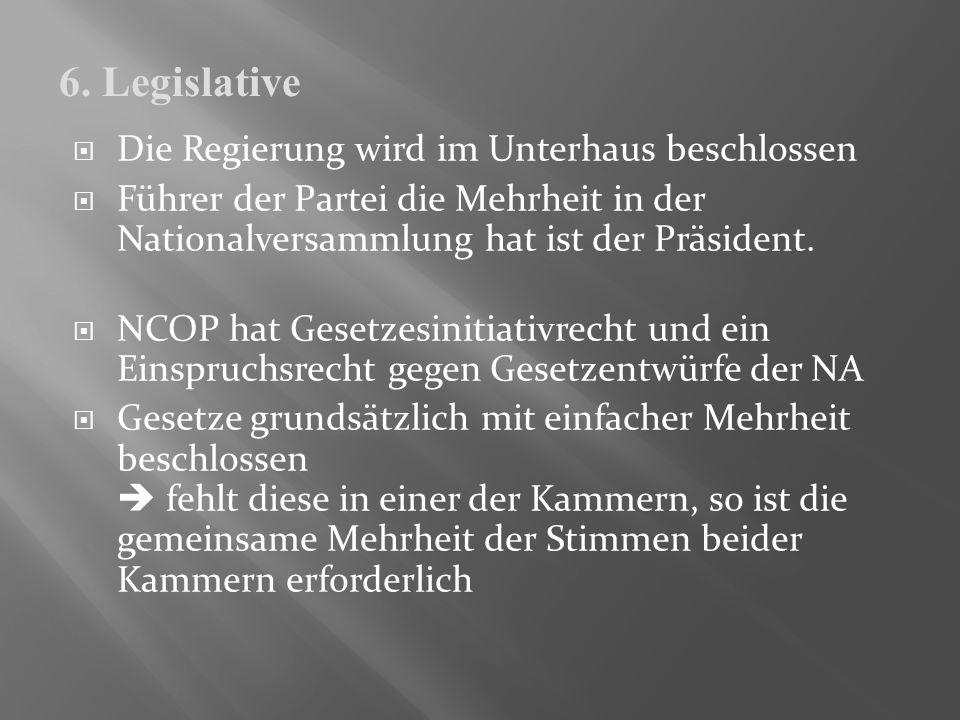 6. Legislative Die Regierung wird im Unterhaus beschlossen