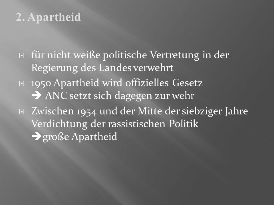 2. Apartheidfür nicht weiße politische Vertretung in der Regierung des Landes verwehrt.