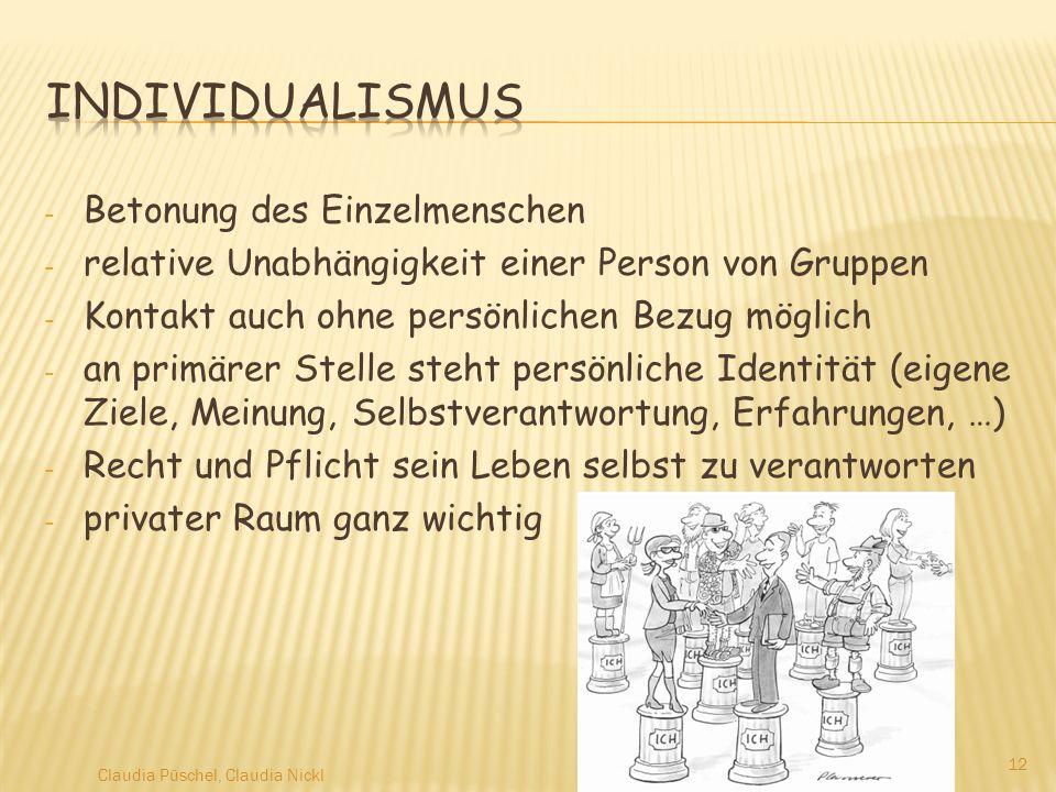 Individualismus Betonung des Einzelmenschen