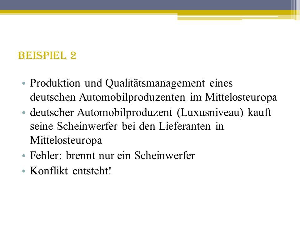 Beispiel 2 Produktion und Qualitätsmanagement eines deutschen Automobilproduzenten im Mittelosteuropa.
