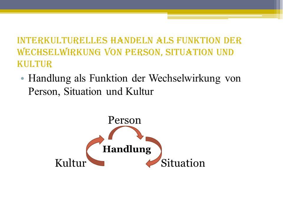 Interkulturelles Handeln als Funktion der Wechselwirkung von Person, Situation und Kultur