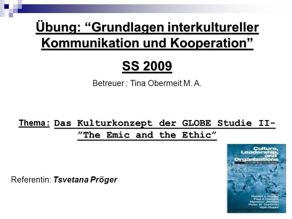 Übung: Grundlagen interkultureller Kommunikation und Kooperation