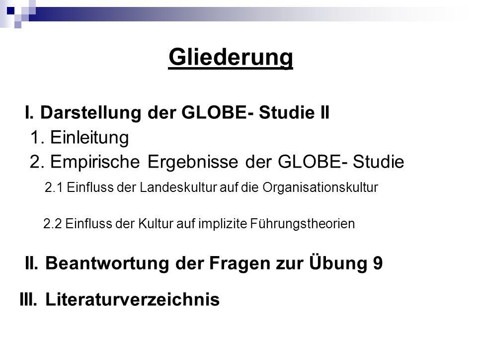 Gliederung I. Darstellung der GLOBE- Studie II 1. Einleitung