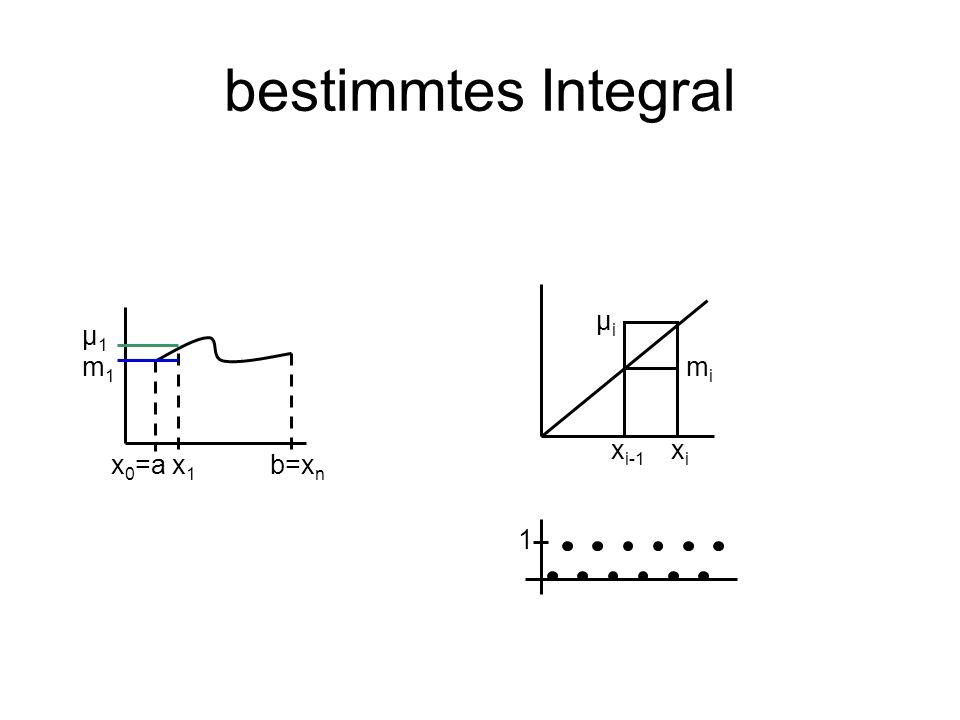 bestimmtes Integral μi μ1 m1 mi xi-1 xi x0=a x1 b=xn 1