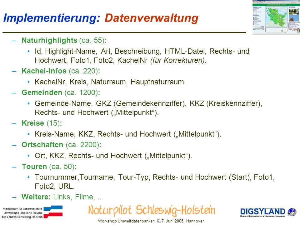 Implementierung: Datenverwaltung