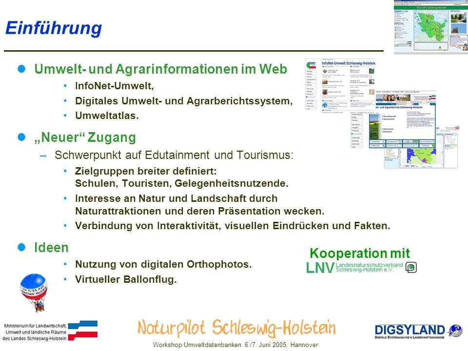 """Einführung Umwelt- und Agrarinformationen im Web """"Neuer Zugang Ideen"""
