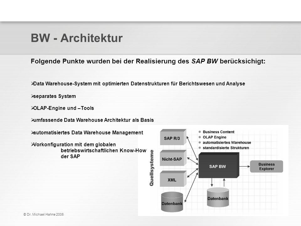 BW - Architektur Folgende Punkte wurden bei der Realisierung des SAP BW berücksichigt:
