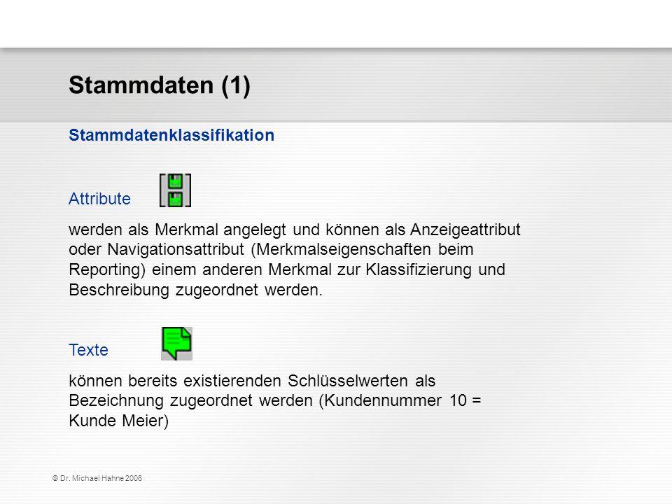 Stammdaten (1) Stammdatenklassifikation Attribute