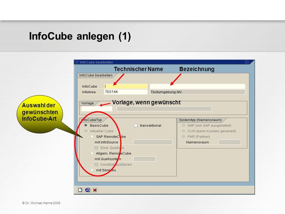 InfoCube anlegen (1) Technischer Name Bezeichnung