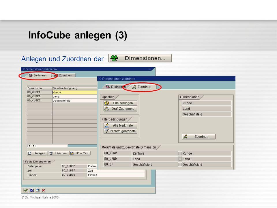 InfoCube anlegen (3) Anlegen und Zuordnen der © Dr. Michael Hahne 2006