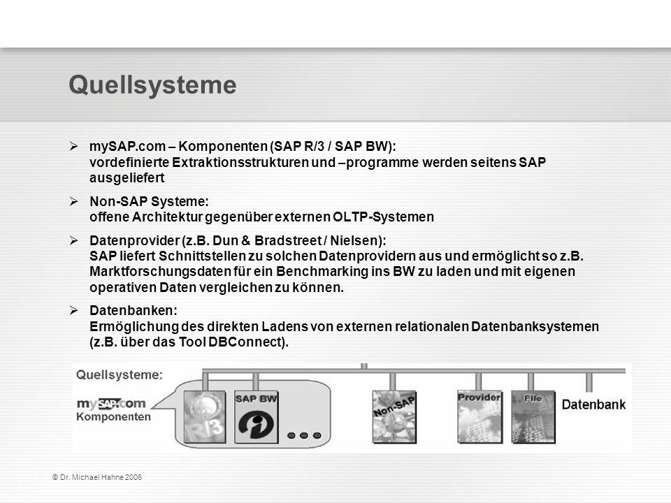Quellsysteme mySAP.com – Komponenten (SAP R/3 / SAP BW): vordefinierte Extraktionsstrukturen und –programme werden seitens SAP ausgeliefert.