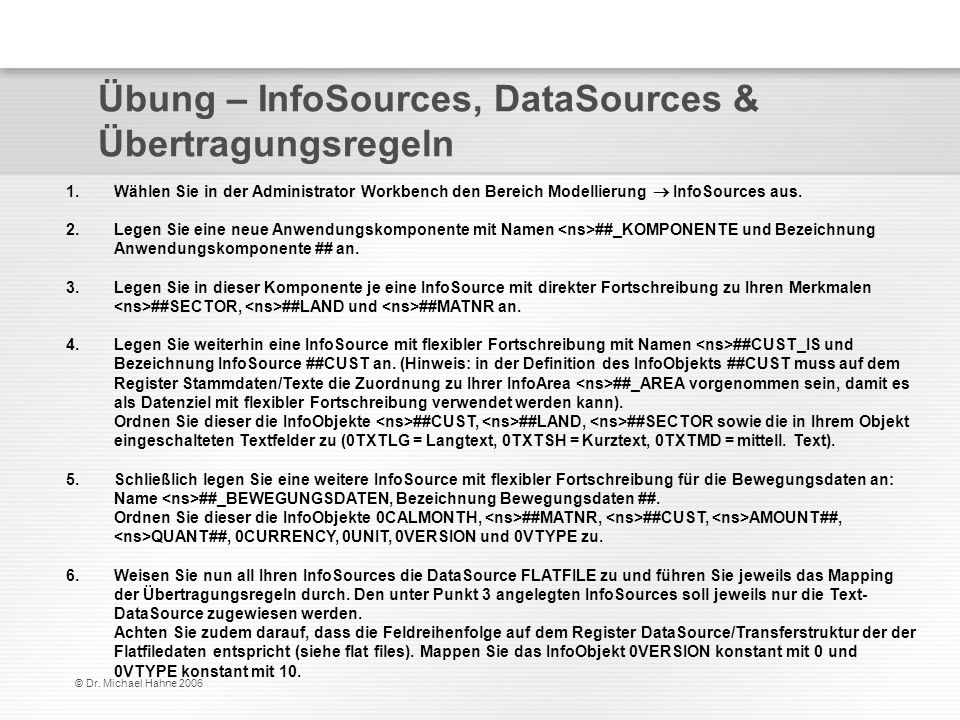 Übung – InfoSources, DataSources & Übertragungsregeln