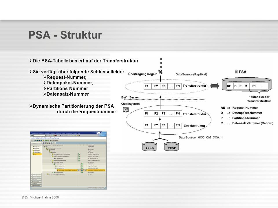 PSA - Struktur Die PSA-Tabelle basiert auf der Transferstruktur