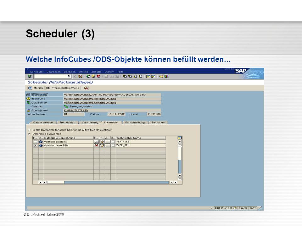 Scheduler (3) Welche InfoCubes /ODS-Objekte können befüllt werden...
