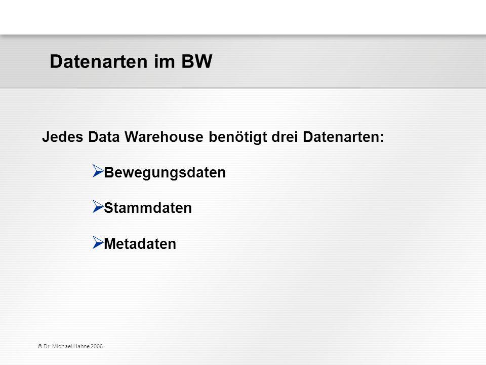 Datenarten im BW Jedes Data Warehouse benötigt drei Datenarten: