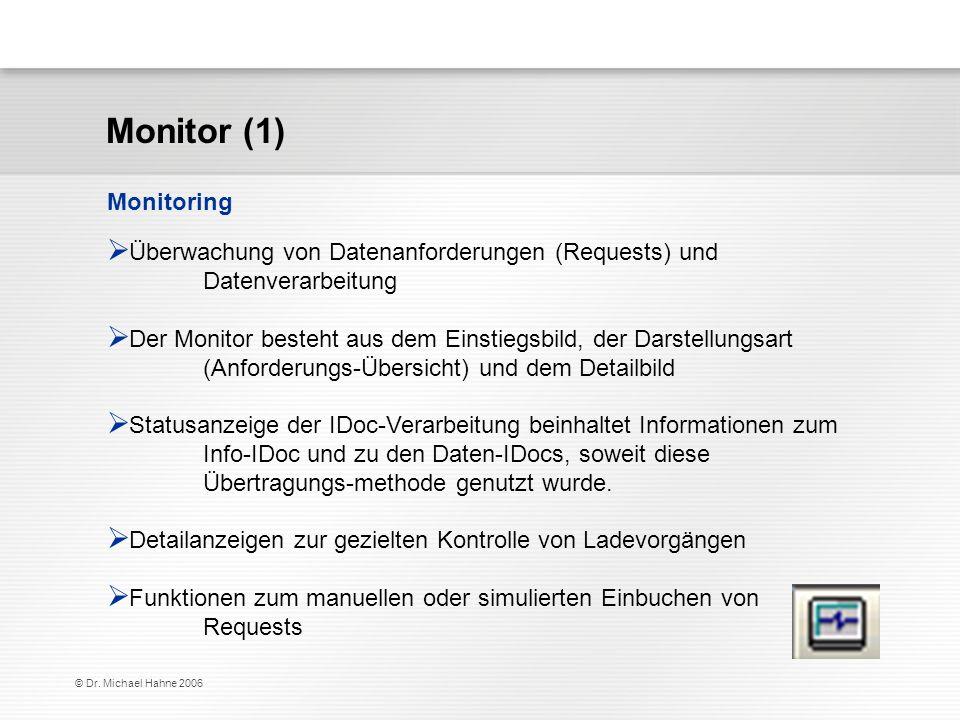Monitor (1) Monitoring. Überwachung von Datenanforderungen (Requests) und Datenverarbeitung.