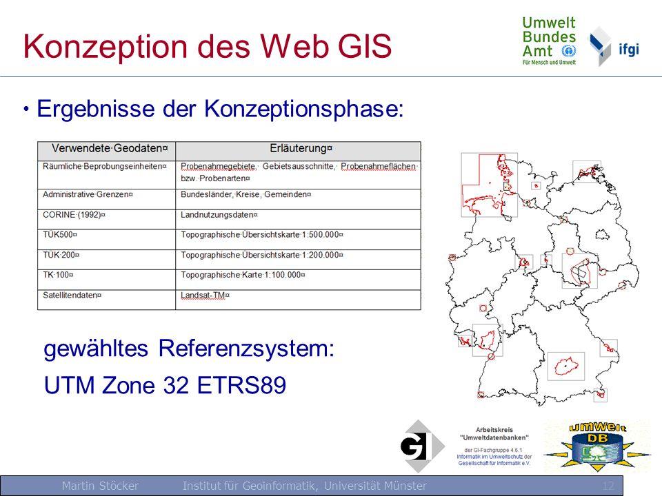 Konzeption des Web GIS Ergebnisse der Konzeptionsphase: