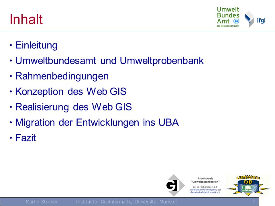 Inhalt Einleitung Umweltbundesamt und Umweltprobenbank