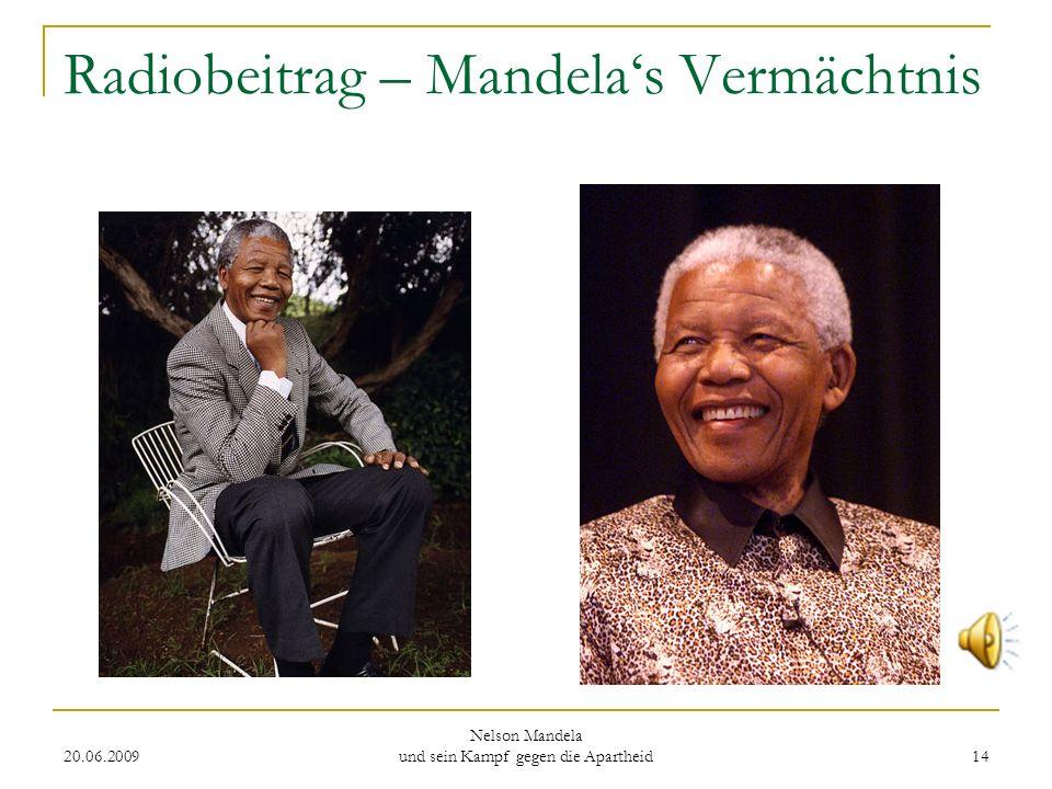 Radiobeitrag – Mandela's Vermächtnis