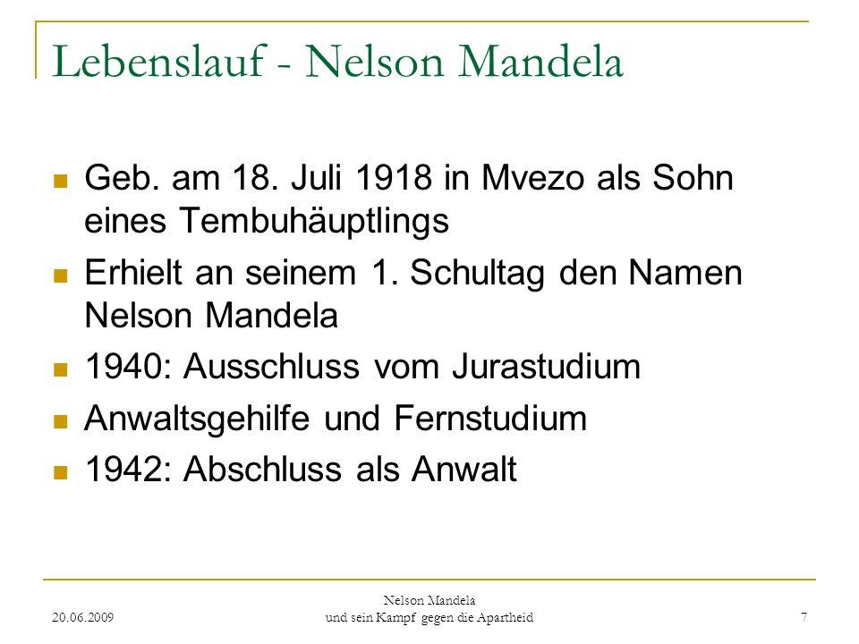 Lebenslauf - Nelson Mandela