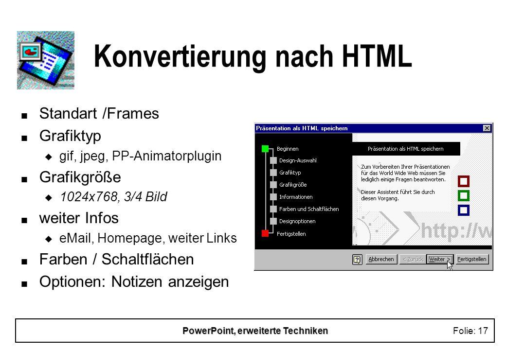 Konvertierung nach HTML