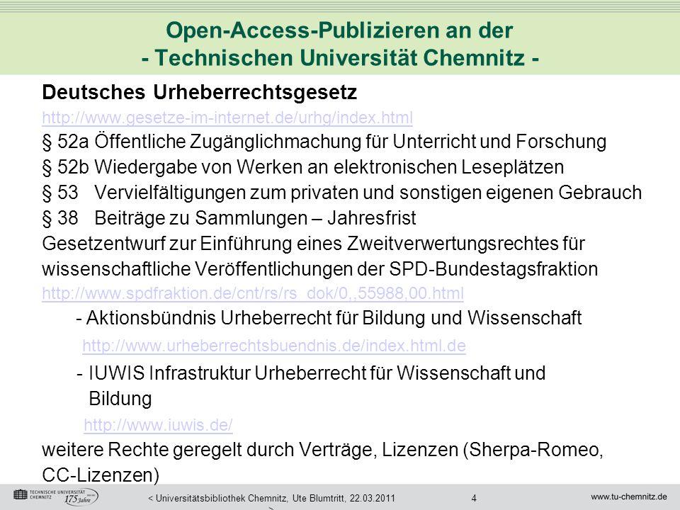 Open-Access-Publizieren an der - Technischen Universität Chemnitz -