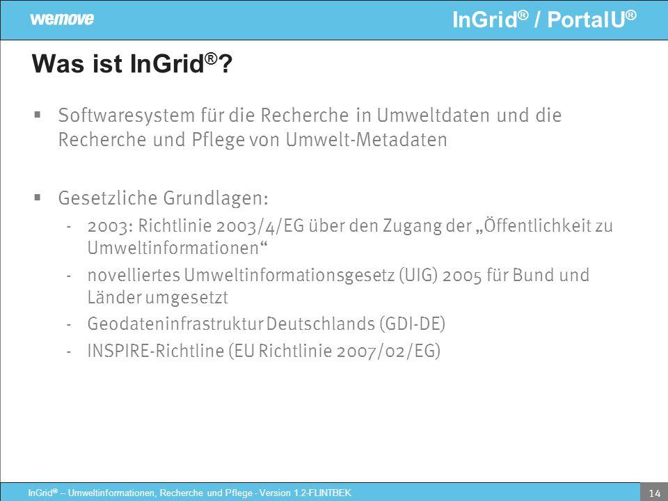 Was ist InGrid® Softwaresystem für die Recherche in Umweltdaten und die Recherche und Pflege von Umwelt-Metadaten.