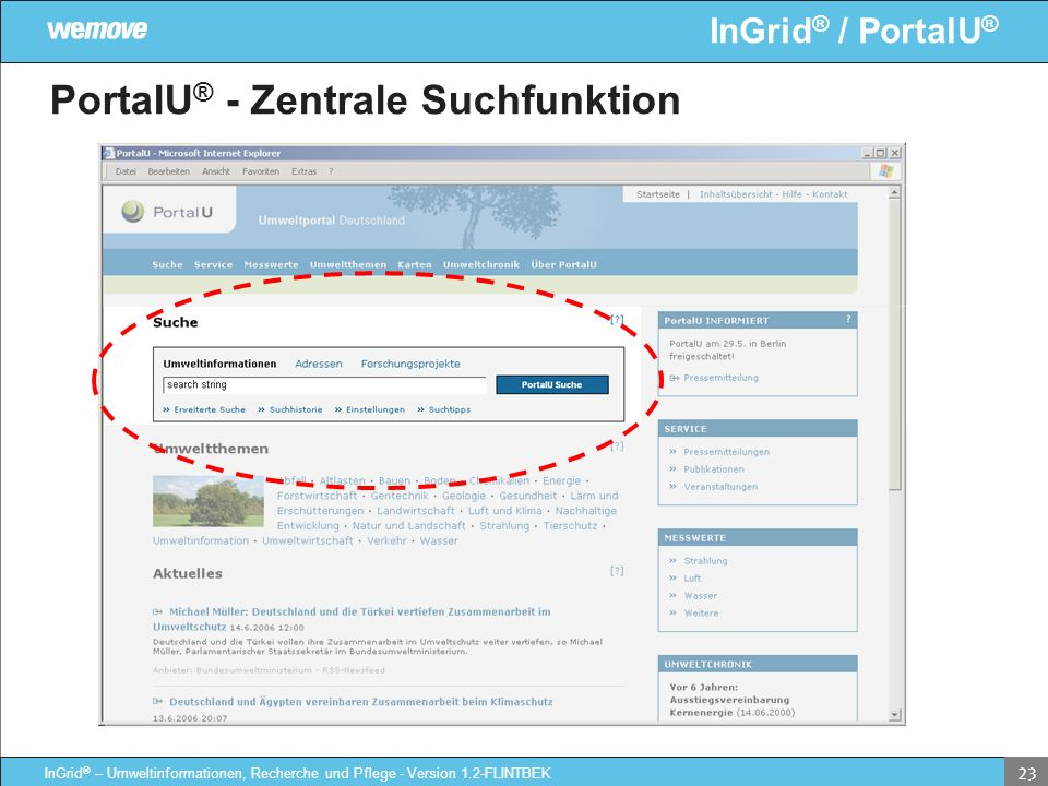 PortalU® - Zentrale Suchfunktion