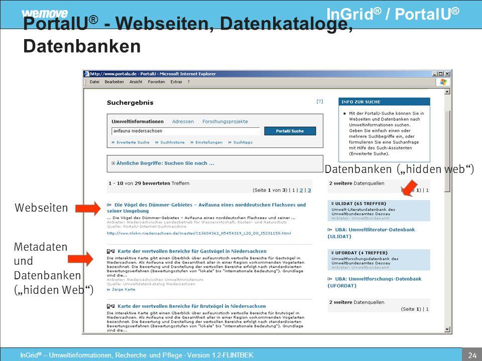PortalU® - Webseiten, Datenkataloge, Datenbanken